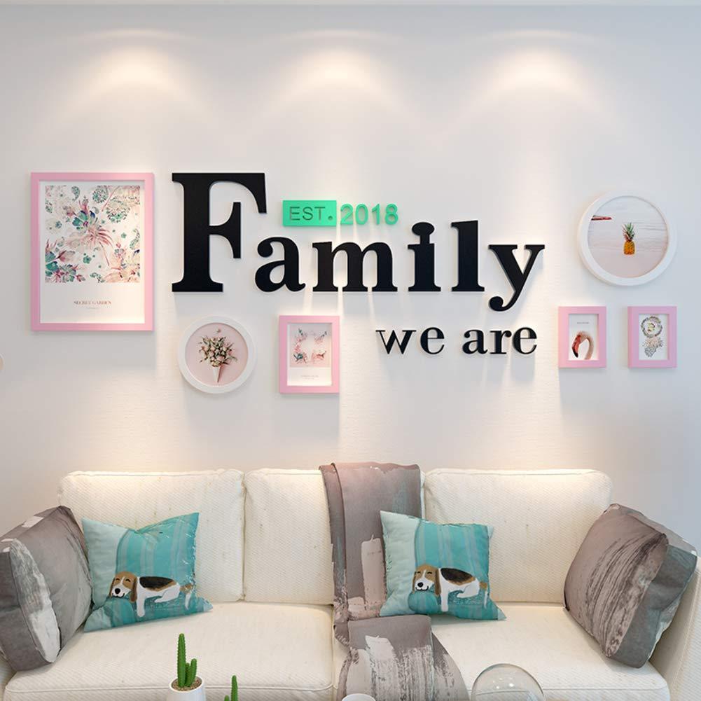 MUZIDP Kreativ Wohnzimmer Fotowand Massivholz Multi-Bild Foto-Frame-Kombination,Home Office Foto-Rahmen-Wand-Set-A