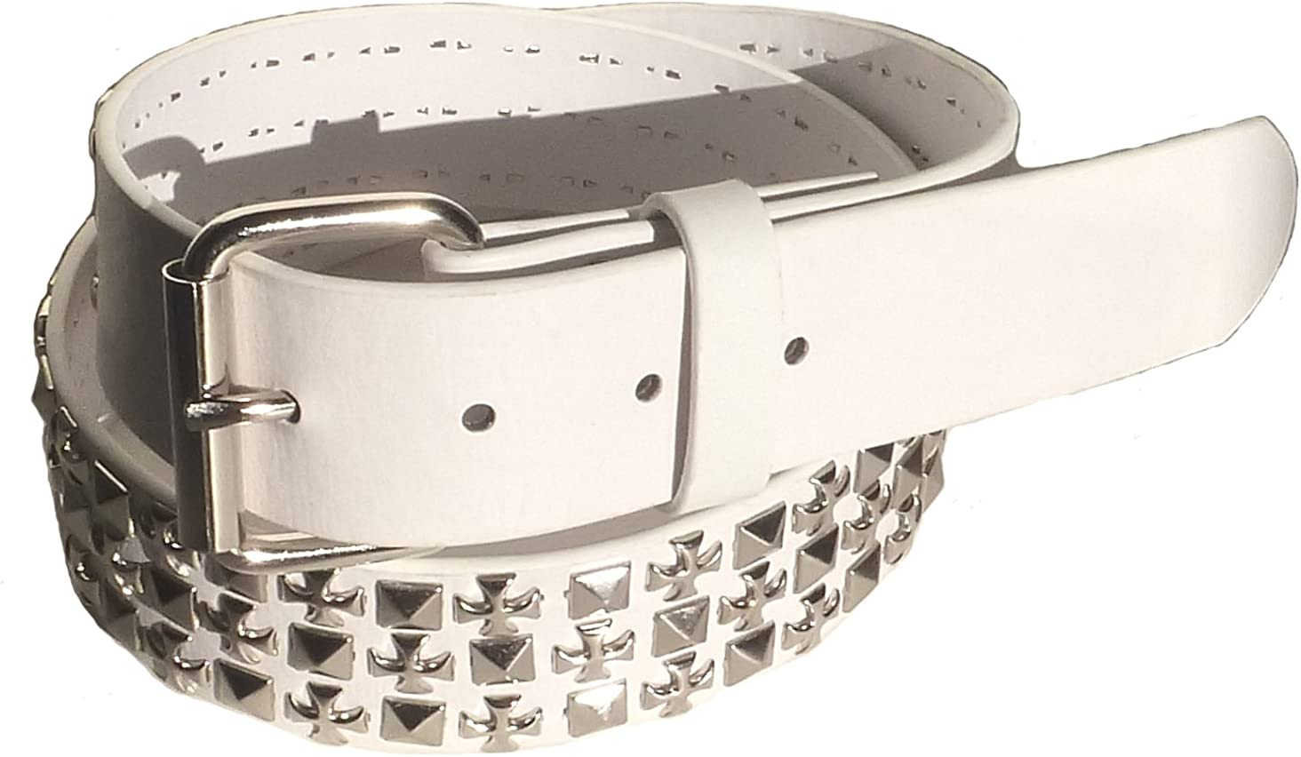 BeltsandStuds Goth Punk Silver Stud Studded Snap on Belt