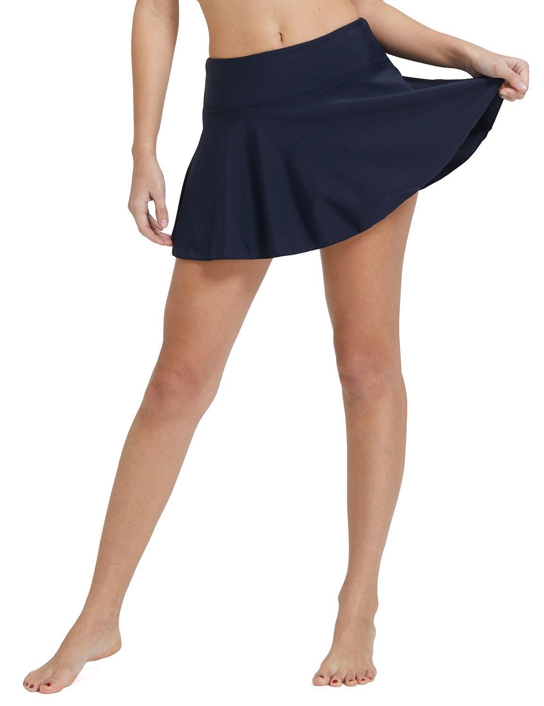 86b20bfa9d9 Baleaf Women s Swim Skirt High Waisted Flounce Swimming Skort Bikini Bottom  Tankini Swimsuit Navy