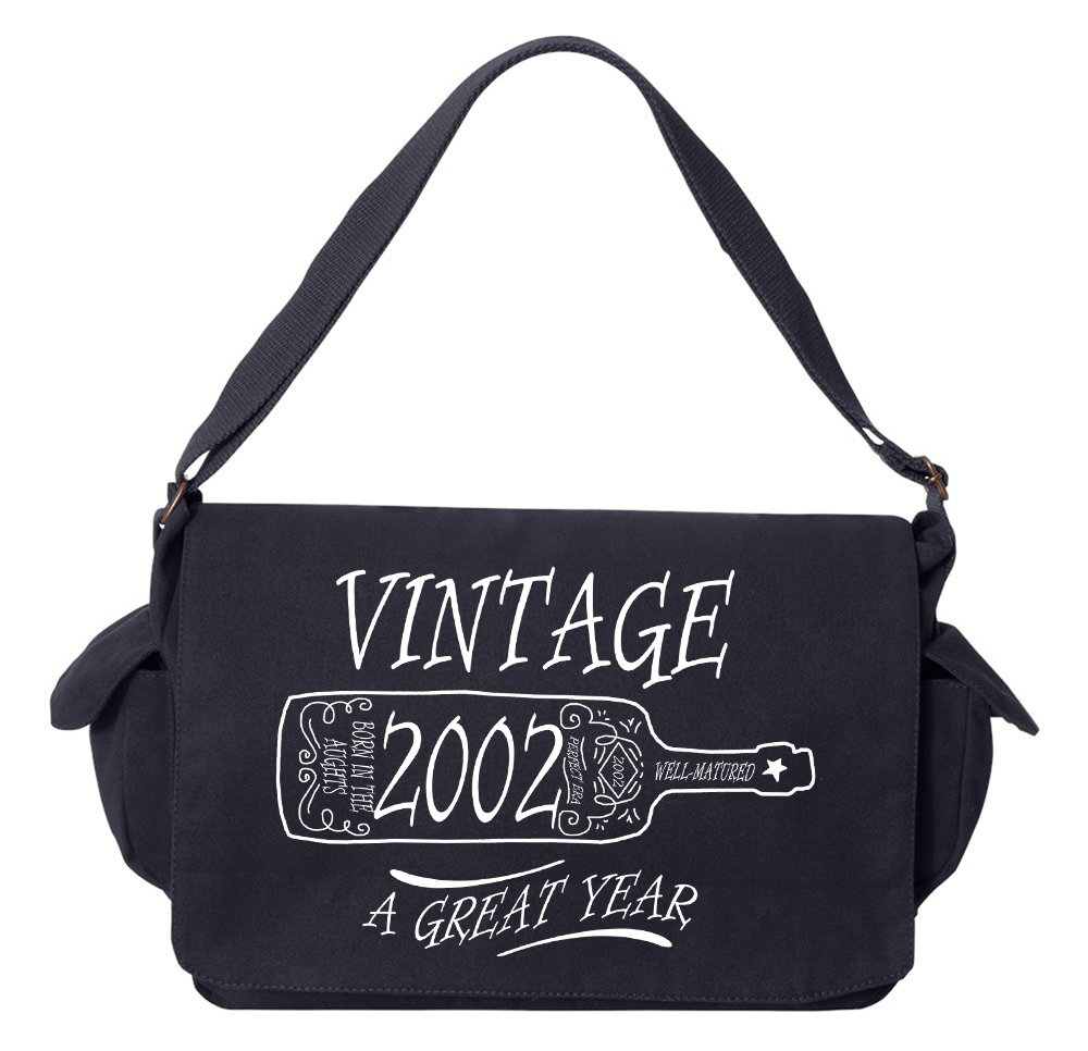 Tenacitee Aged Like a Fine Wine 2002 Navy Brushed Canvas Messenger Bag