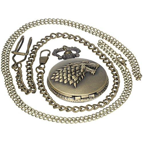 American Drama Game of Thrones House Stark Theme Bronze Quartz Pocket Watch Necklace Retro Analog Copper Men Women Children Kids Gift 1 PC Necklace 1 PC Clip Key Rib Chain