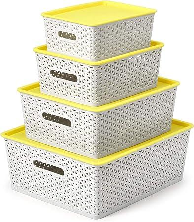EZOWare 4 pcs Cestas de Almacenaje Multiuso con Tapas, Cajas Organizadoras de Plástico Apilable con Efecto de Mimbre y Asas para Cocina, Baño - Gris Claro y Amarillo/Tamaños Mixtos: Amazon.es: Hogar