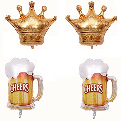 Amazon.com: TOYMYTOY Crown and Beer Cups Foil Balloon Mylar ...