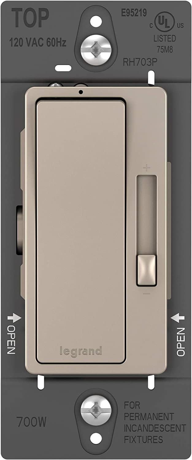 Legrand radiant Dimmer Light Switch, 700W Rated for Incandescent and Halogen Lights, Brushed Nickel, RH703PNICCV4