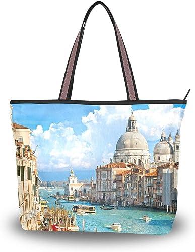 LORONA Sac /à main en toile pour femme Motif paysage de Venise Grande capacit/é