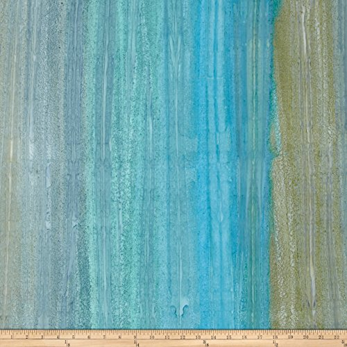(Robert Kaufman Kaufman Artisan Batiks Patina Handpaints Stripes Aqua Fabric by The Yard,)