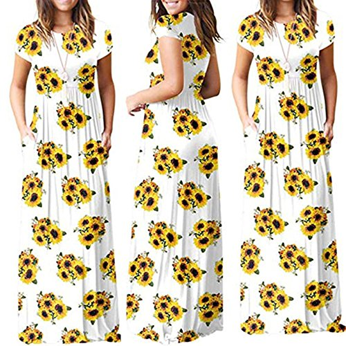 Vestido de Niña Estampado Cuello Casual 2018 Vestido Falda Playa Mujeres Bolsillo Señoras para O la Manga de Vestimenta Ocio Girasol day Corta Fiesta Corta Verano Blanco Happy q0ngpa7T