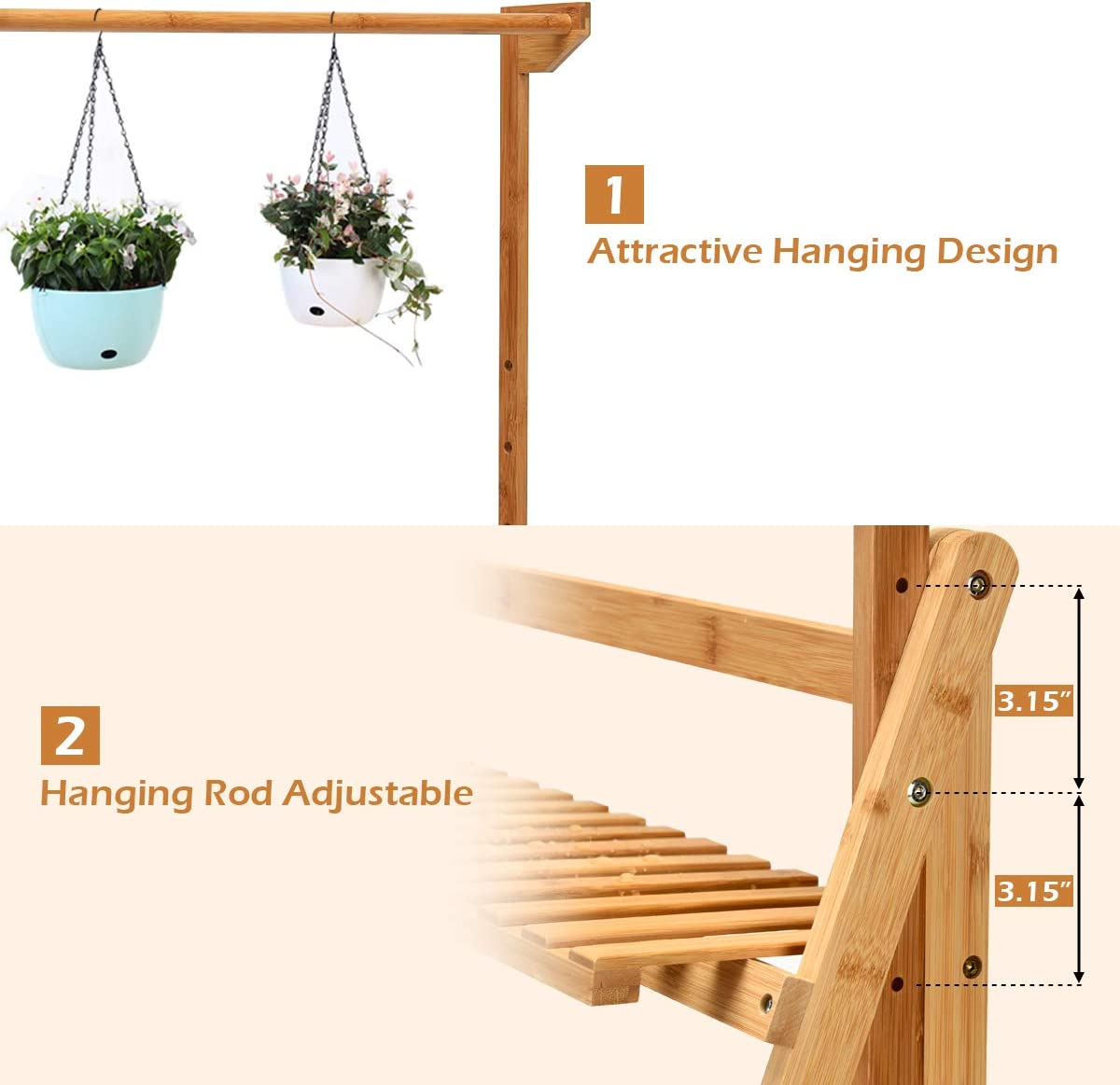 Foldable Bamboo Flower Rack for Garden Casart 3-Tier Hanging Plant Stand Patio and Balcony