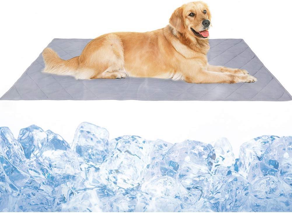 Dog Cooling Blanket Mat, Large Cooling Pad for Dogs & Cats, Pet Self Cooling Blanket for Floor, Kennels, Crates, Beds, Summer Dog Bed Mats, High-Tech Fiber, Soft Breathable Reversible Machine Washable