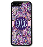Simply Customized Phone Case, Compatible with iPhone 8 PLUS (5.5 inch) - Purple Paisley Monogrammed Personalized