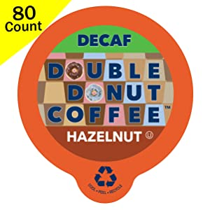 Double Donut Medium Roast Decaf Coffee Pods, Hazelnut Flavored, for Keurig K-Cup Machines, 80 Single-Serve Capsules per Box