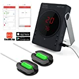 Professional Instant Read Digital Thermometer In-Oven Meat,Cooking barbecue Grill Food Super Fast Timer Wireless Bluetooth Android and iPhone App Remote Control Support 6 probes