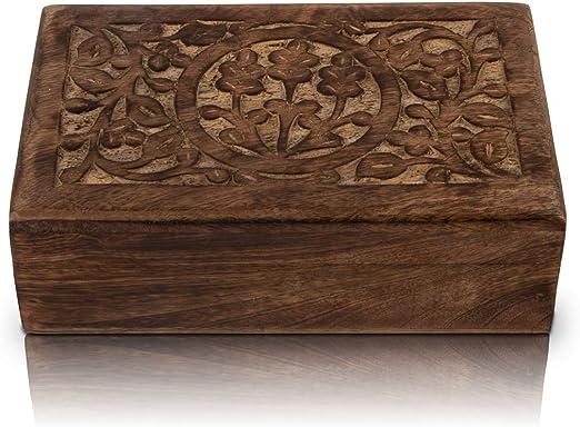 Gran regalo de cumpleaños hecho a mano, caja de joyería decorativa de madera, organizador de joyas, caja de recuerdos, caja de almacenamiento, caja de almacenamiento, 20,32 x 12,7 cm: Amazon.es: Hogar