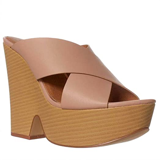 Leila Stone Roza Wedge Sandals Blush Pink Size 85