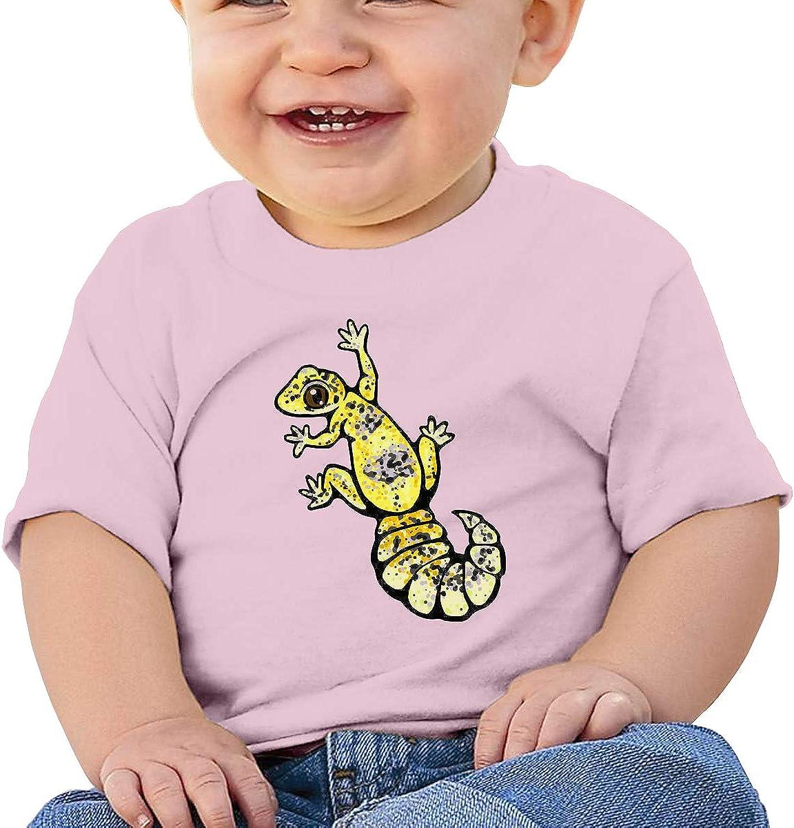 LLiYing-D Yellow Leopard Gecko 6-24 Months Baby Boys /& Girls Sportstyle T-Shirts