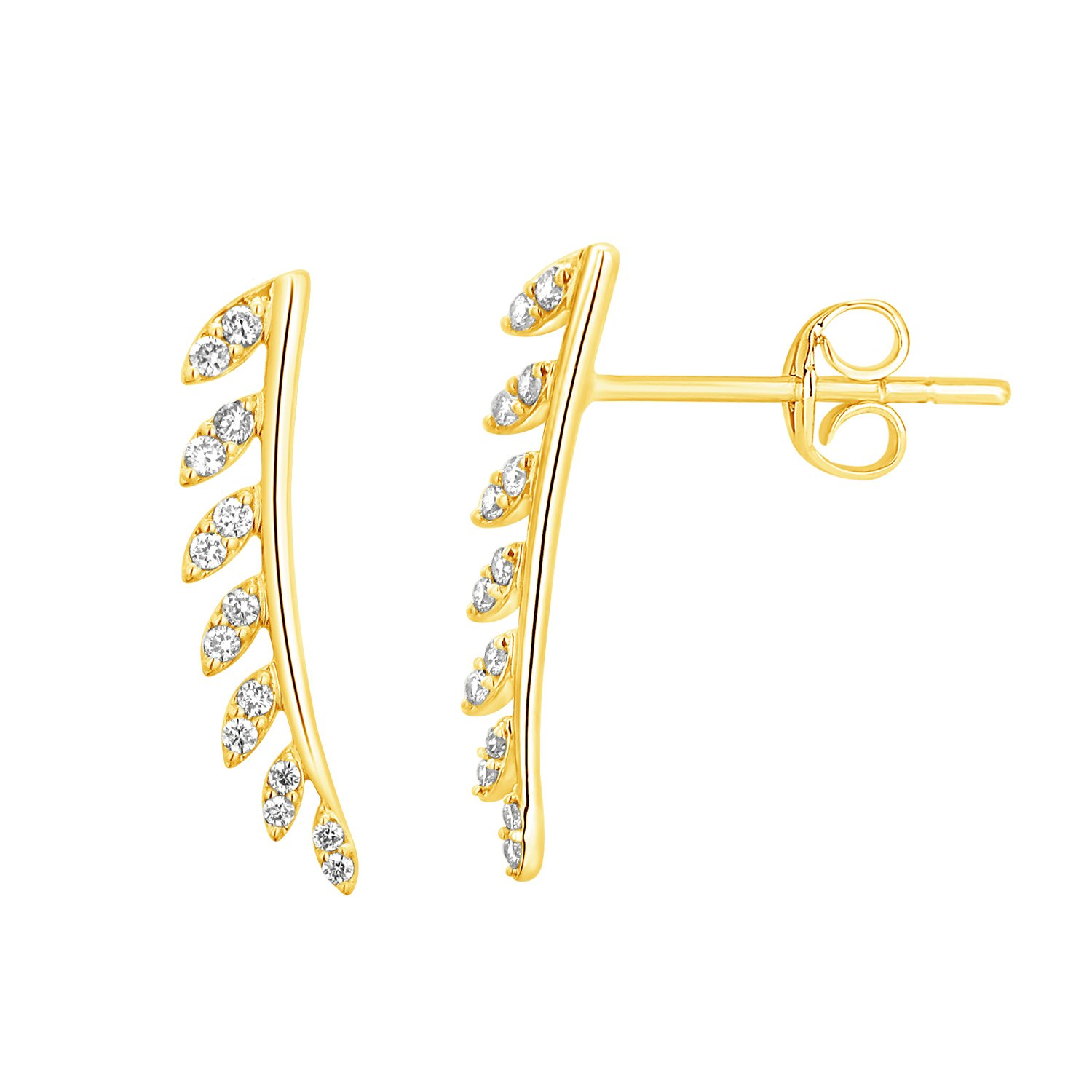 1/4 cttw Round Real Natural Diamond Ear Crawlers Climbers Earrings 10k Gold (yellow-gold)