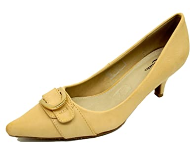 525d853937a9 Ladies Beige Leather Slip-On Kitten Low Heel Comfy Court Pointy Work Shoes  Sizes 2