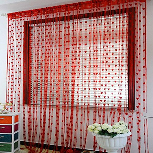 Katoot@ 100200cm Korean Style Heart Pattern Silk String Curtain Voile Tulle Window Curtain Sheer Window Screen Home Kitchen Curtain (Red)
