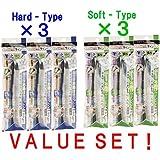 3Set X Tombow Fudenosuke Brush Pen - Hard Type & Soft Type - Each 9Pens /Total 18Pens Set
