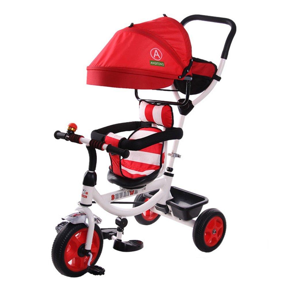 4-in-1 Sport Edition Trike für Kinder, multifunktionale Kinder Dreirad Kid Trolley mit Anti-UV-Markise und Eltern Griff für 1-3-6 Jahre alt Boy und Girl Baby ROT Bike
