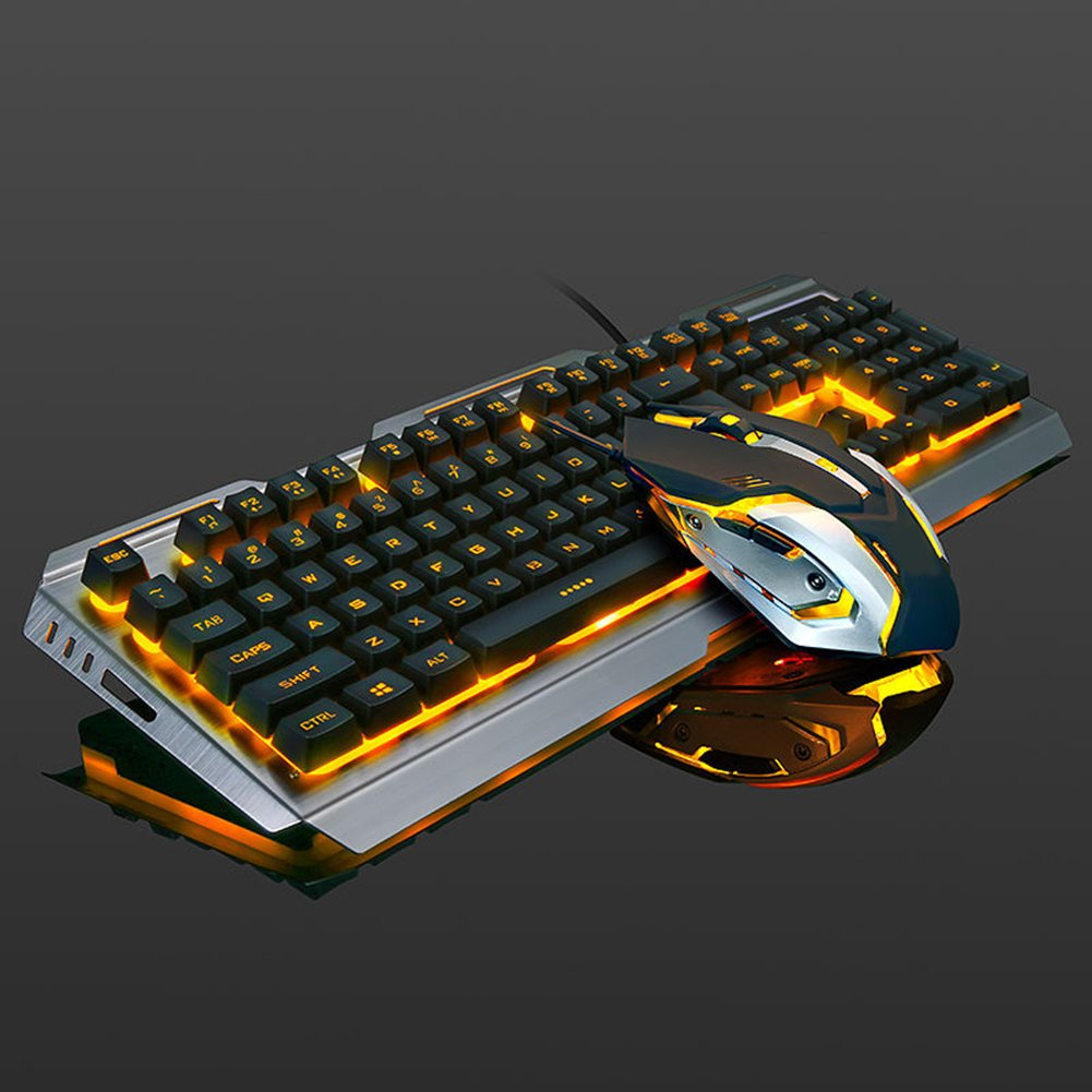 d3e9dd88a29 Amazon.com: V1 USB Wired Ergonomic Backlight Mechanical Feel Gaming  Keyboard Mouse Set Combo for PUBG/CODOL/LOL: MP3 Players & Accessories
