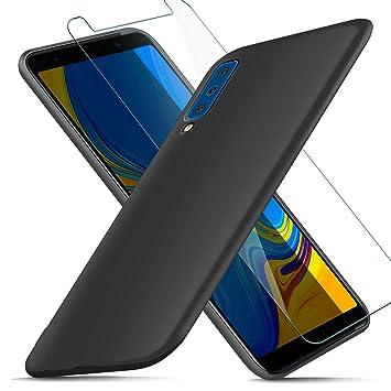 AROYI Funda Samsung Galaxy A7 2018 + Protector de Pantalla, Carcasa Samsung Galaxy A7 2018 Silicona Ultra Suave TPU Anti-Golpes Flexible Cover Case ...