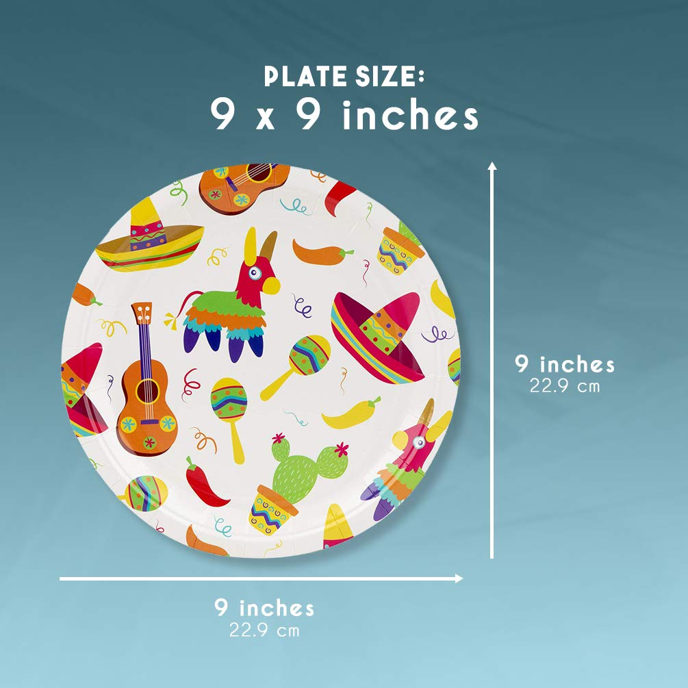 Details about Disposable Plates - 80-Count Paper Plates, Mexican Fiesta  Party Supplies for
