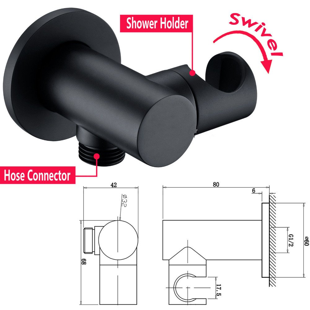 Homili Modern Wall Mounted Rain Shower System/& Handheld Shower Set Solid Brass in Black