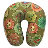 SARA NELL Memory Foam Neck Pillow Cute Various Mexican U-Shape Travel Pillow Ergonomic Contoured Design Washable Cover For Airplane Train Car Bus Office
