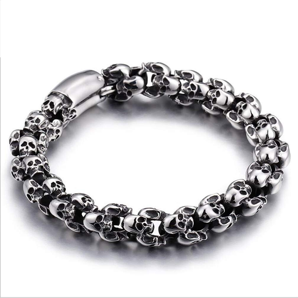 Cuff Bracelet for Men with Skull Charms Stainless Steel Mens Motorcycle Bracelet,A,20.5cm DECJ Taro Titanium Steel Bracelet
