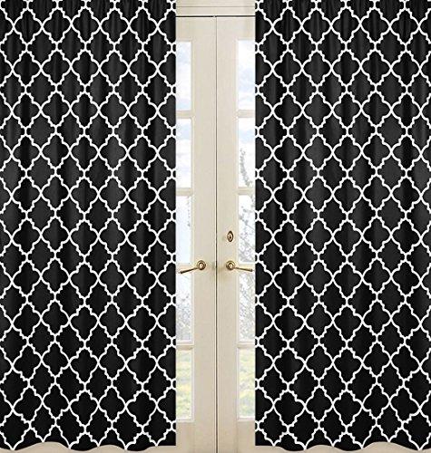 Black and White Trellis Print Collection Lattice Window Treatment Panels - Set (Lattice Panel Bed)