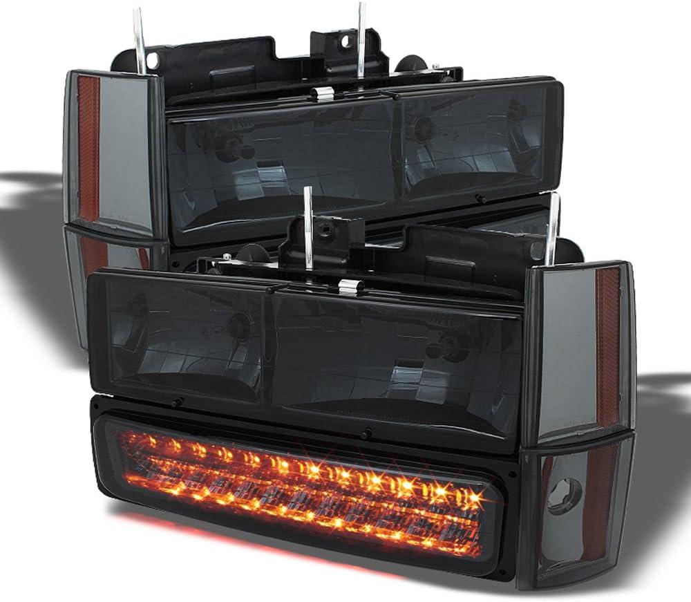 Passenger Side For Smoked 1988-1993 GMC Sierra Chevy Silverado C//K C10 Headlights+LED Bumper Lights Driver ACANII