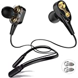 ALWUP Bluetooth Headphones, Wireless Neckband Earphones Dual Drivers with Mic in-Ear Earbuds Bluetooth Stereo Headset…