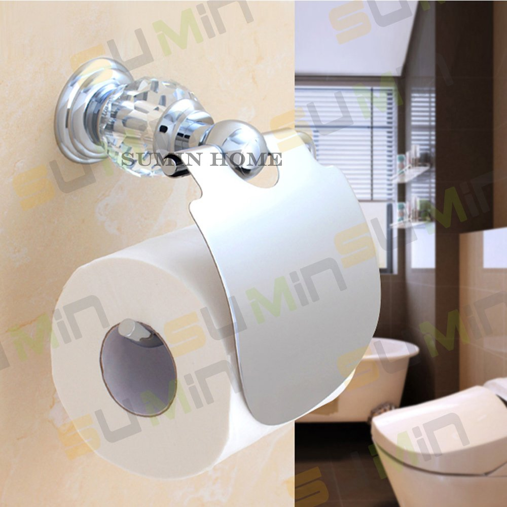 Sumin Home QC2202MC Modern Luxury Crystal Wall Mounted Toilet Paper Holder with Cover, Chrome by Sumin Home (Image #5)