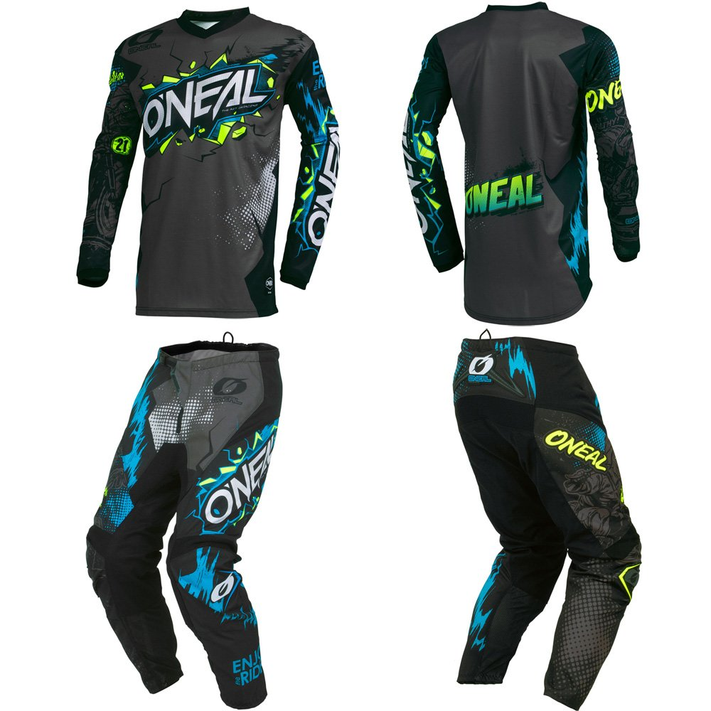 O'Neal Element Villain Gray Adult motocross MX off-road dirt bike Jersey Pants combo riding gear set (Pants W28/Jersey Small)
