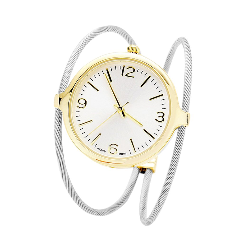 Rosemarie Collections Women's Twisted Wire Cuff Watch Bangle Bracelet