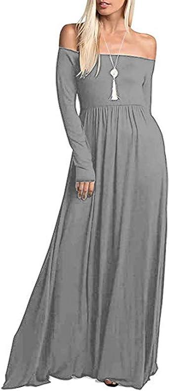 ACHIOOWA Mujer Vestido Elegante Casual Dress Cuello V Sin Manga ...