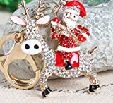 SANTA 2'' Riding Reindeer Key Chain is Embellished with Crystal Rhinestones.Fun Gift to Entertain the Child in your Life