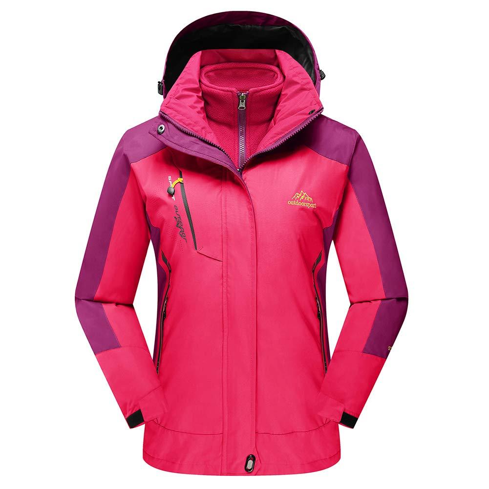 pink TACVASEN Women's Hooded 3in1 Winter Interchange Jacket Waterproof Softshell Fleece Inner Ski Coat