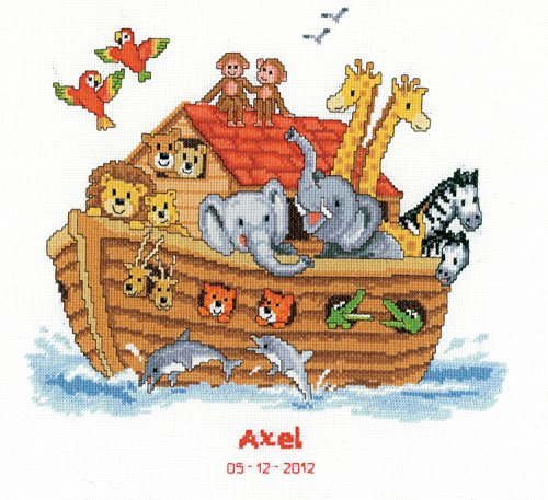 Friends Birth Sampler (Vervaco Birth Record Noah's Ark Counted Cross Stitch Kit, Multi-Colour)