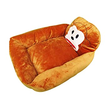 Suave Camas para Mascotas Colchones para Camas Infantiles Plush Nest Cartoon Cute Washable Warm Nest Pet Dog Bed Personalizado Patrón De Mono Suministros ...