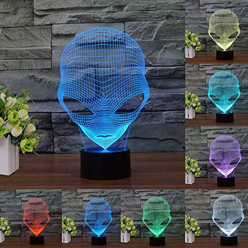 - 3D Illusion Birthday Gift Lamp - Modern Alien Mood Lamp - 3D Night Light LED Desk Table Lamp 7 Color Changing Touch Switch Xmas Decoration Acrylic Flat & ABS Baase & USB Cable, Creative Gift