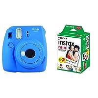 Fujifilm Instax Mini 9 Cobalt Blue Fotocamera Istantanea per Foto Formato 62x46 mm, Blu + Instax Mini Film Pellicola Istantanea per Fotocamere Instax Mini, Formato 46x62 mm, Confezione da 20 Foto
