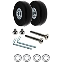 2X Luggage Wheels Repair Kit Axles Rubber Deluxe OD 50mm Replacement Metal