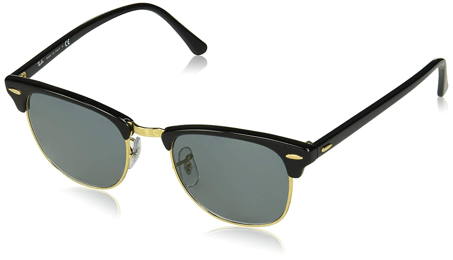 e68c5db89b Amazon.com  Ray Ban Clubmaster Sunglasses RB3016 W0365 Black  Green 51mm  Authentic  Clothing