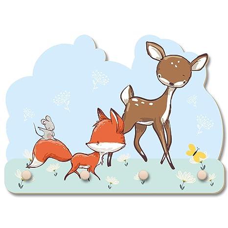Perchero de pared con diseño de zorro y ratón, ideal para la ...