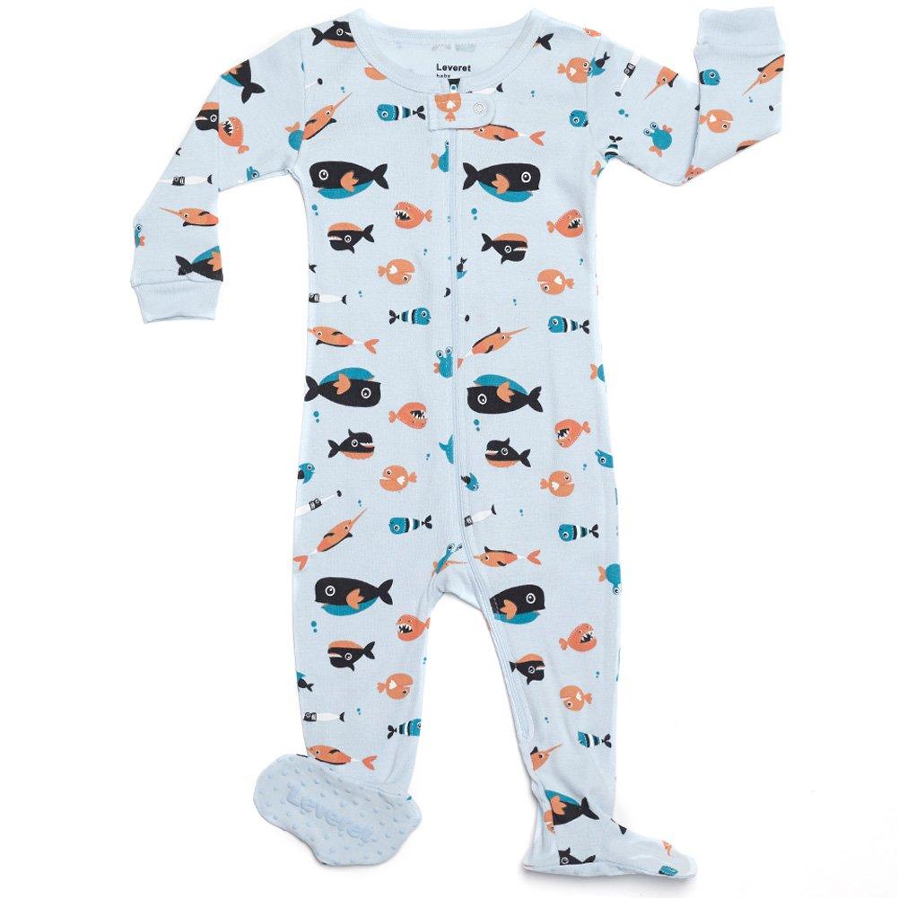 Leveret Kids Pajamas Baby Boys Girls Footed Pajamas Sleeper 100% Cotton (Size 6-12 Months-5 Toddler)