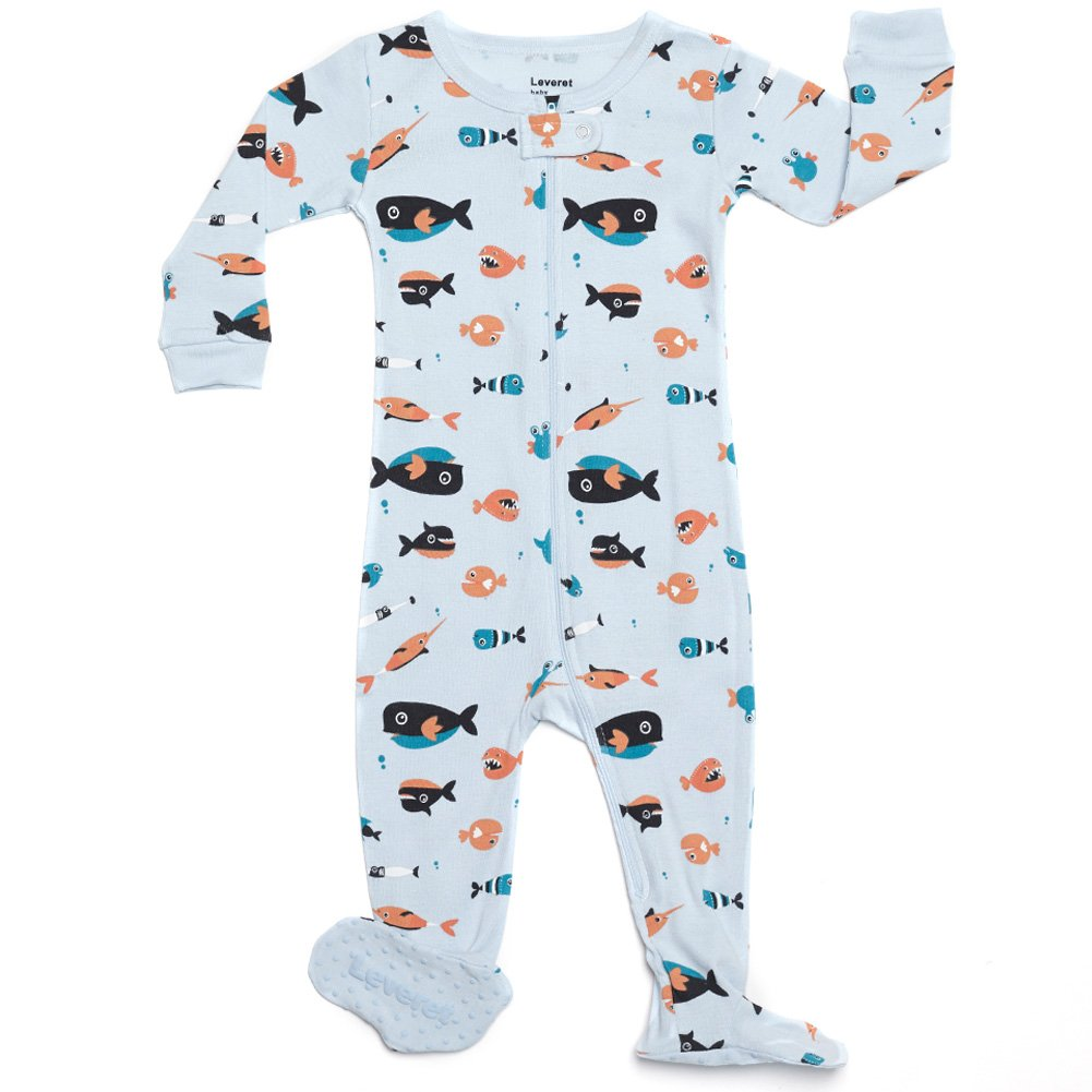 Leveret Shark Footed Pajama 100% Cotton