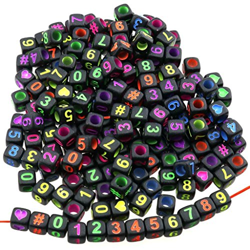 Gresorth 800 PCS Fluorescence Cube Acrylic Number Beads Multicolor Figures DIY Handmade Accessory 6x6 mm