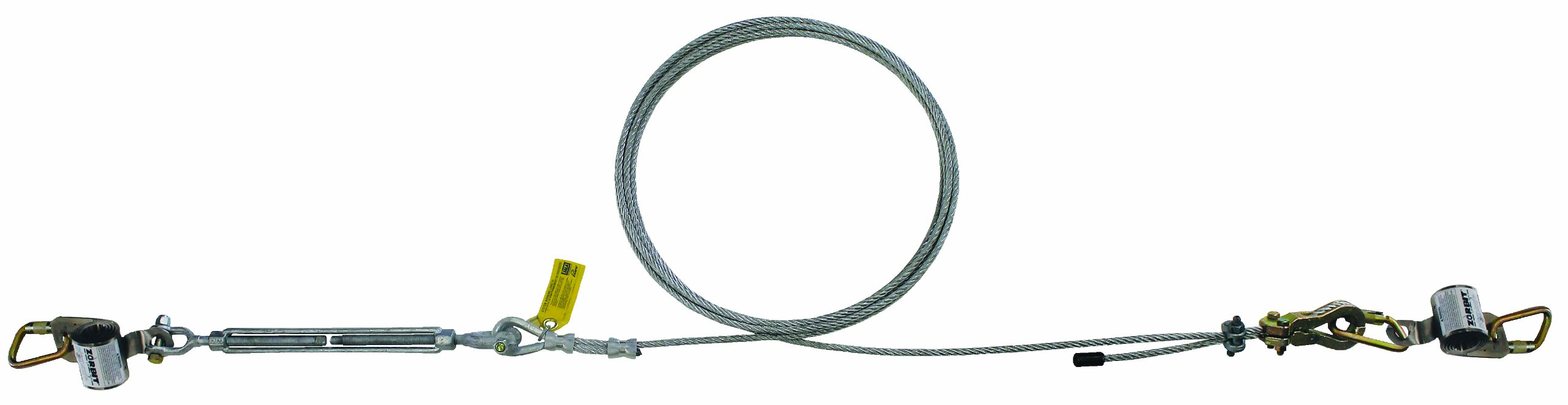 3M DBI-SALA SecuraSpan 7403180 Horizontal System, 180' Galvanized Cable Lifeline, Includes Tensioner, Termination and Mounting Hardware, Zorbit Energy Absorber